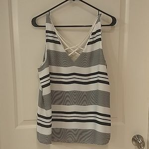 Express striped tank with crossed back